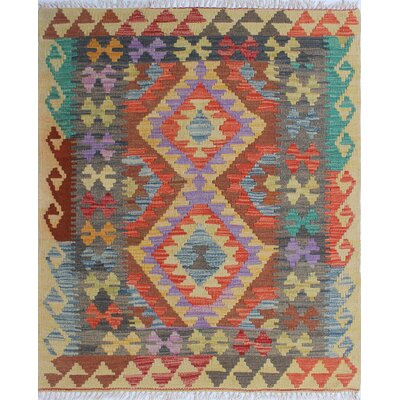 One-of-a-Kind Rucker Kilim Laily Hand-Woven Wool Beige Area Rug