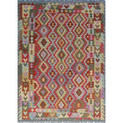 Vallejo Kilim Zarin Hand-Woven Wool Red Area Rug