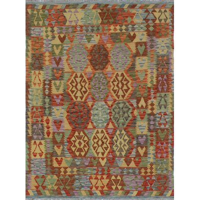 One-of-a-Kind Rucker Kilim Mooska Hand-Woven Wool Rust Area Rug