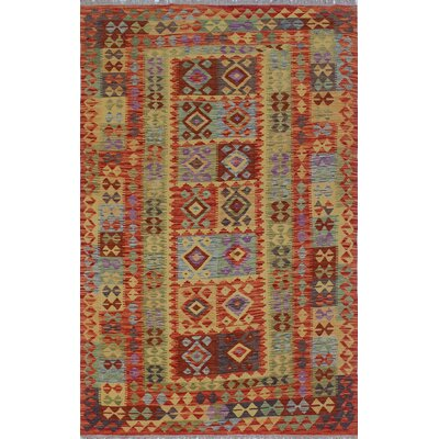 One-of-a-Kind Rucker Kilim Obiad Hand-Woven Wool Rust Area Rug