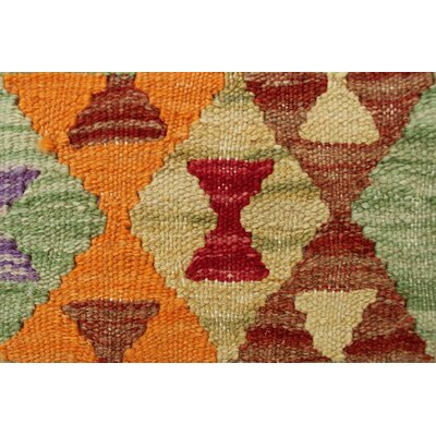 One-of-a-Kind Rucker Kilim Gulloo Hand-Woven Wool Orange Area Rug