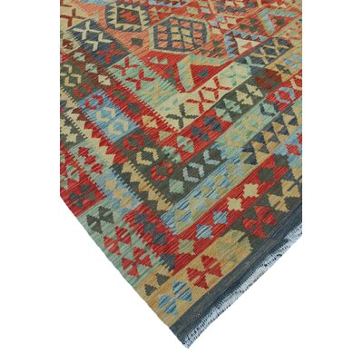 One-of-a-Kind Rucker Kilim Zarmina Hand-Woven Wool Red Area Rug