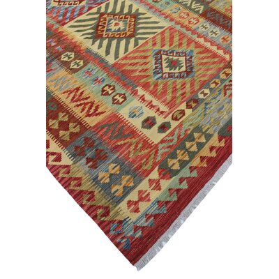 Vallejo Kilim Adella Hand-Woven Wool Red Area Rug