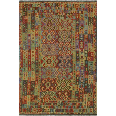 One-of-a-Kind Rucker Kilim Zakerya Hand-Woven Wool Green Area Rug