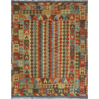 Vallejo Kilim Mahwash Hand-Woven Wool Rust Area Rug