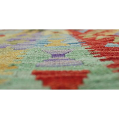 One-of-a-Kind Vallejo Kilim Parwana Hand-Woven Wool Red Area Rug