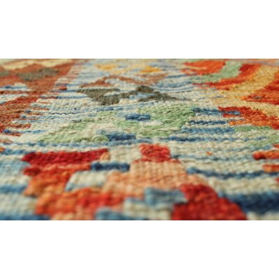 One-of-a-Kind Rucker Kilim Baraat Hand-Woven Wool Rust Area Rug