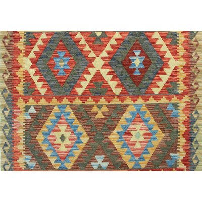 One-of-a-Kind Rucker Kilim Khaleky Hand-Woven Wool Red Area Rug