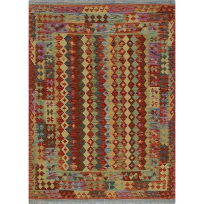 Vallejo Kilim Ghotai Hand-Woven Wool Red Area Rug