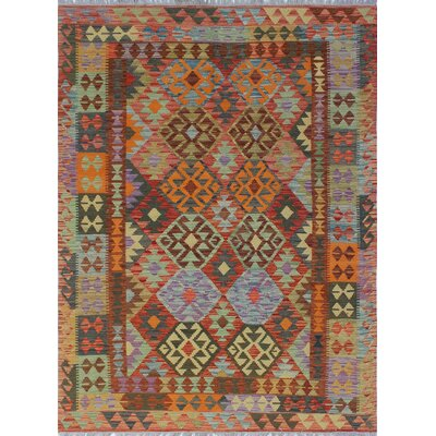 One-of-a-Kind Vallejo Kilim Mosuma Hand-Woven Wool Red Area Rug