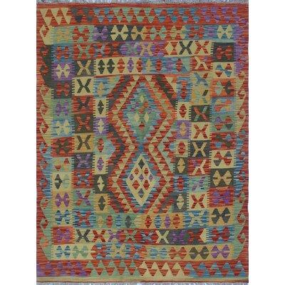 Vallejo Kilim Aeisha Hand-Woven Wool Red Area Rug