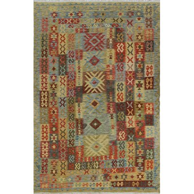 Vallejo Kilim Karmal Hand-Woven Wool Blue/Beige Area Rug