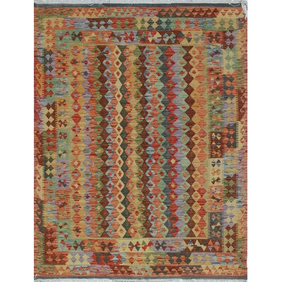 One-of-a-Kind Rucker Kilim Khatole Hand-Woven Wool Rust Area Rug