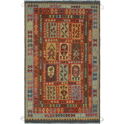 One-of-a-Kind Rucker Kilim Zardad Hand-Woven Wool Rust Area Rug