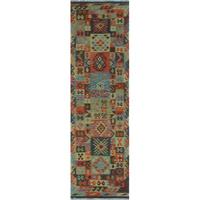 One-of-a-Kind Rucker Kilim Osmani Hand-Woven Wool Rust Area Rug