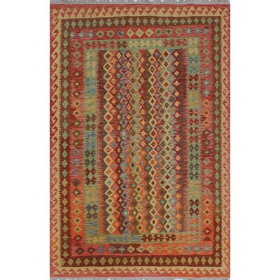 Vallejo Kilim Muhamad Hand-Woven Wool Rust Area Rug