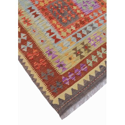 One-of-a-Kind Vallejo Kilim Basira Hand-Woven Wool Rust Area Rug