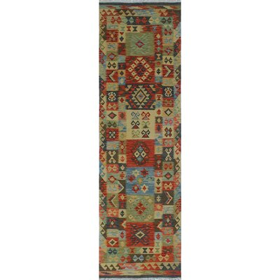 One-of-a-Kind Rucker Kilim Hila Hand-Woven Wool Rust Area Rug