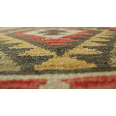 Vallejo Kilim Wafa Hand-Woven Wool Green/Red Area Rug