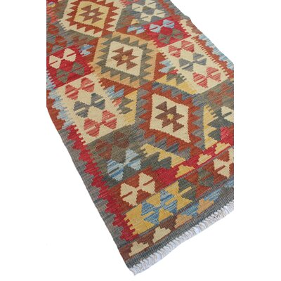 One-of-a-Kind Rucker Kilim Khanum Hand-Woven Wool Beige Area Rug