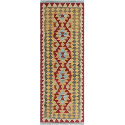 One-of-a-Kind Vallejo Kilim Zalah Hand-Woven Wool Red Area Rug