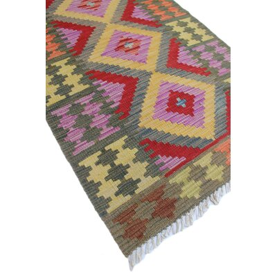 One-of-a-Kind Vallejo Kilim Nazif Hand-Woven Wool Green Area Rug