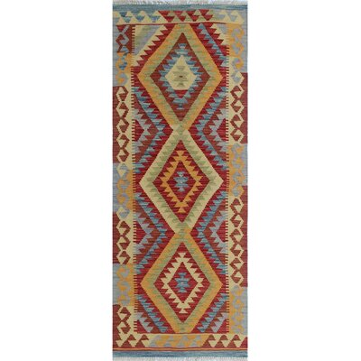 Vallejo Kilim Mojida Hand-Woven Wool Red Area Rug