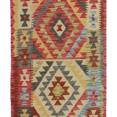 One-of-a-Kind Rucker Kilim Kahkashan Hand-Woven Wool Red Area Rug