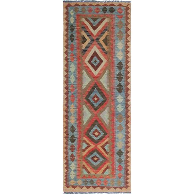 One-of-a-Kind Rucker Kilim Anayatullah Hand-Woven Wool Rust Area Rug