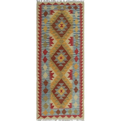 One-of-a-Kind Rucker Kilim Arian Hand-Woven Wool Gold Area Rug