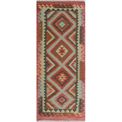 One-of-a-Kind Vallejo Kilim Khanda Hand-Woven Wool Rust Area Rug