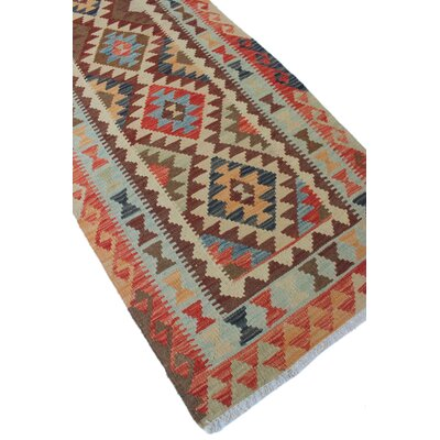 Vallejo Kilim Rateib Hand-Woven Wool Rust Area Rug
