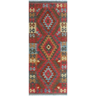One-of-a-Kind Vallejo Kilim Ahad Hand-Woven Wool Red Area Rug