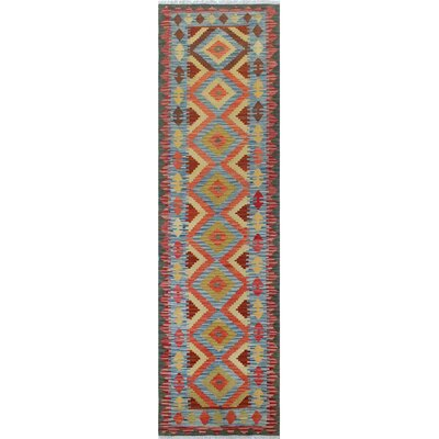 Vallejo Kilim Nazo Hand-Woven Wool Blue/Red Area Rug