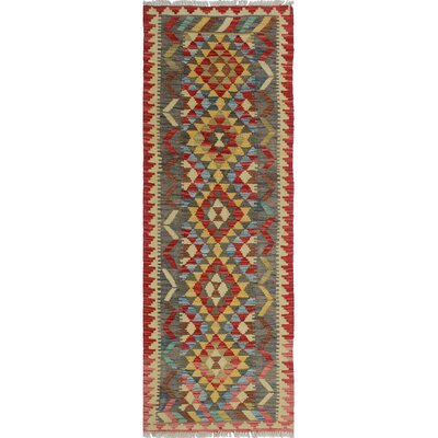 One-of-a-Kind Rucker Kilim Husna Hand-Woven Wool Red Area Rug