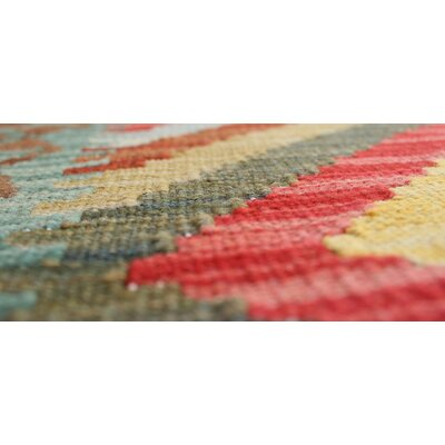 One-of-a-Kind Rucker Kilim Majeed Hand-Woven Wool Red Area Rug