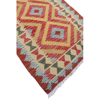 Vallejo Kilim Chehra Hand-Woven Wool Red Area Rug