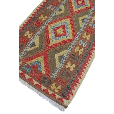 Vallejo Kilim Parween Hand-Woven Wool Red Area Rug