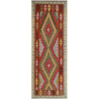 One-of-a-Kind Rucker Kilim Aimal Hand-Woven Wool Gold Area Rug
