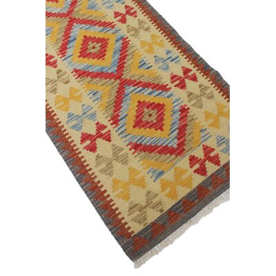 One-of-a-Kind Vallejo Kilim Massiya Hand-Woven Wool Ivory Area Rug
