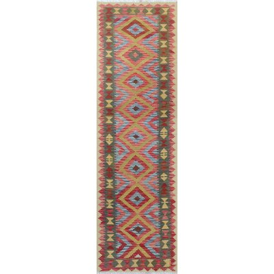 One-of-a-Kind Rucker Kilim Nadeem Hand-Woven Wool Red/Rust Area Rug