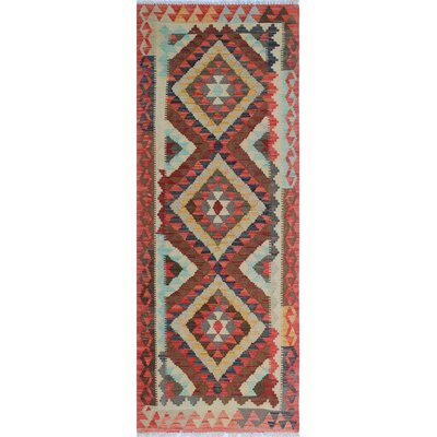 Vallejo Kilim Saeeda Hand-Woven Wool Red Area Rug