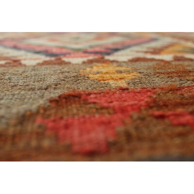 Vallejo Kilim Khesraw Hand-Woven Wool Brown Area Rug