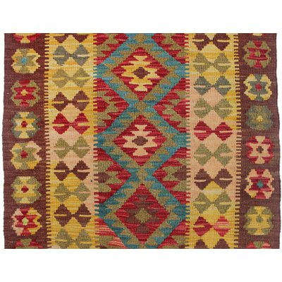 Vallejo Kilim Hasina Hand-Woven Wool Red Area Rug