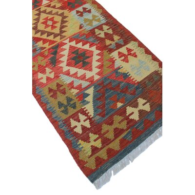 One-of-a-Kind Vallejo Kilim Qasim Hand-Woven Wool Red Area Rug