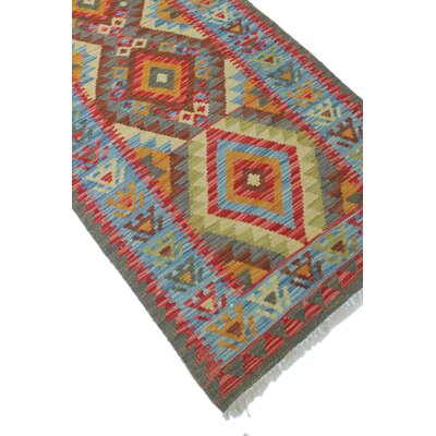 One-of-a-Kind Vallejo Kilim Linar Hand-Woven Wool Red Area Rug