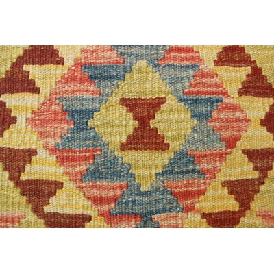 One-of-a-Kind Rucker Kilim Pooria Hand-Woven Wool Gold Area Rug