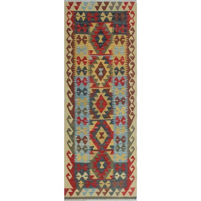 One-of-a-Kind Rucker Kilim Morena Hand-Woven Wool Ivory Area Rug
