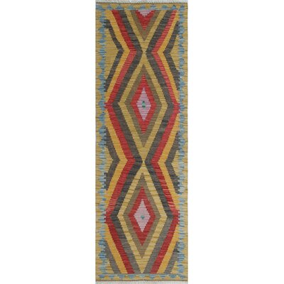 One-of-a-Kind Rucker Kilim Hosna Hand-Woven Wool Gold Area Rug
