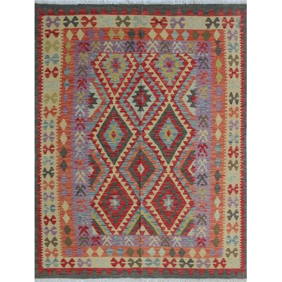 Vallejo Kilim Ghezal Hand-Woven Wool Purple Area Rug